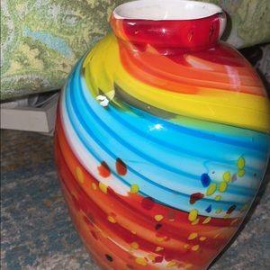 Glass blown large vase